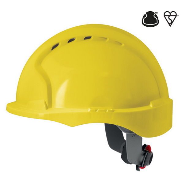 Casque evo3 visiere courte cremaillere jaune ventile