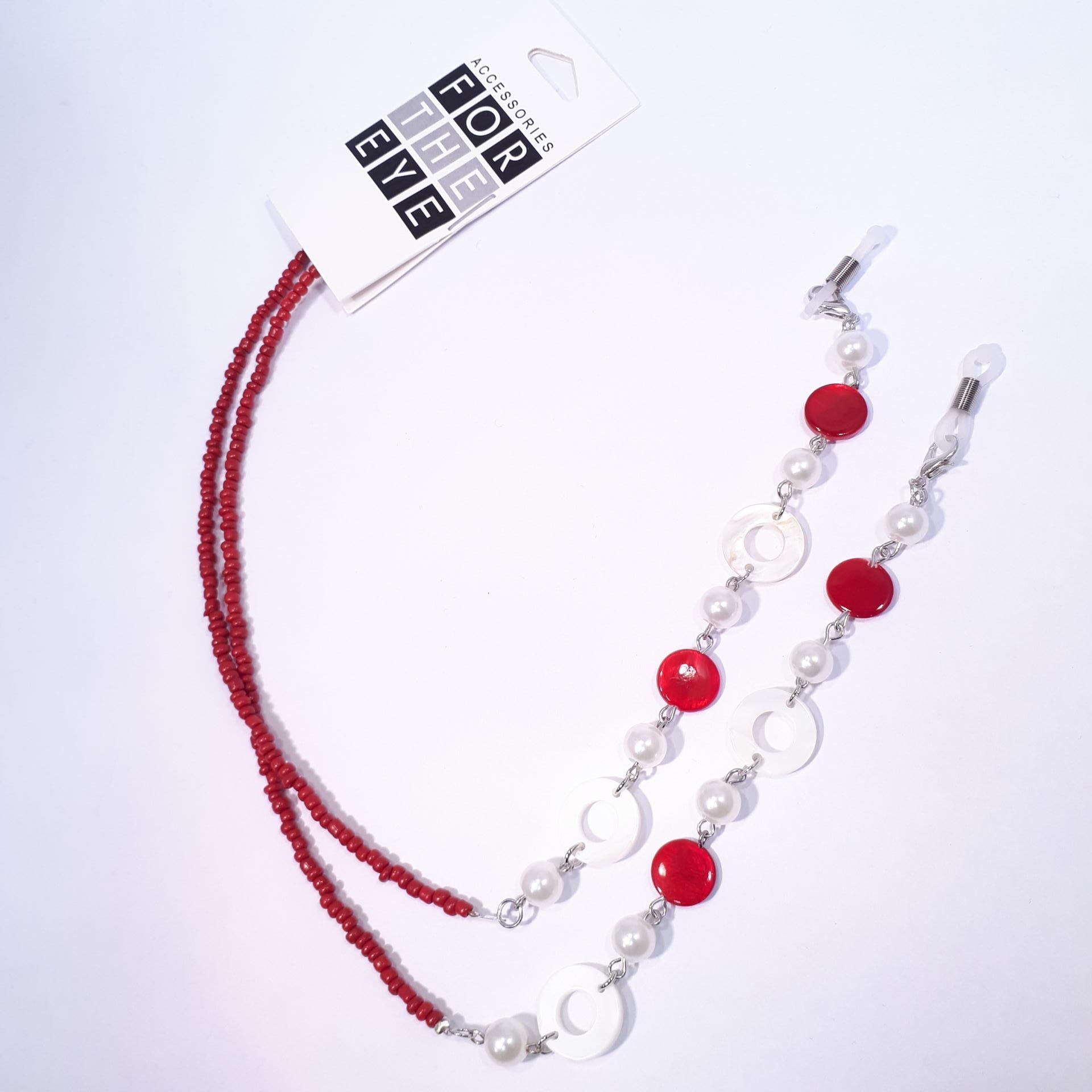 Chainettes a lunettes perles rouges