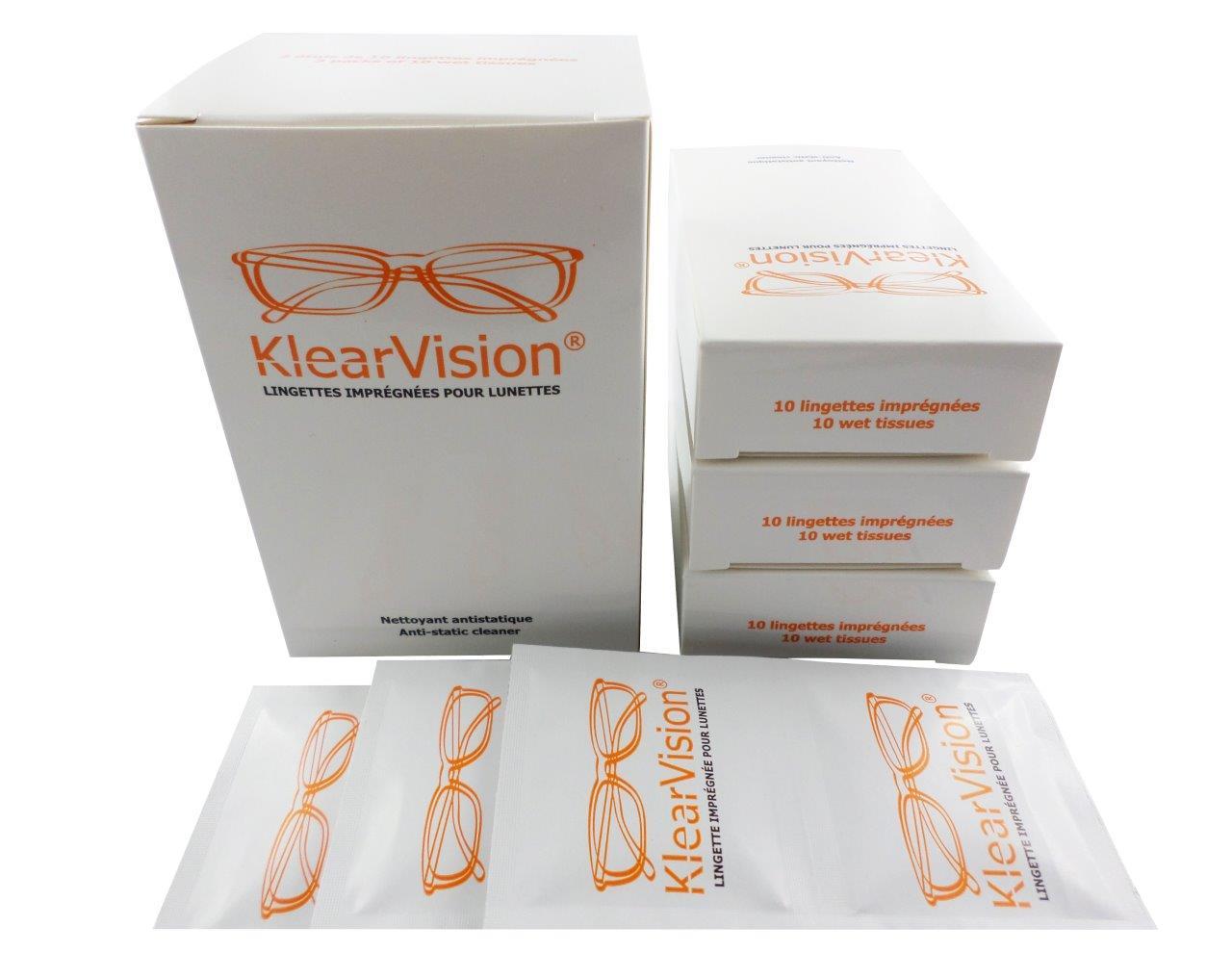 Lingettes nettoyantes pour lunettes  klearvision